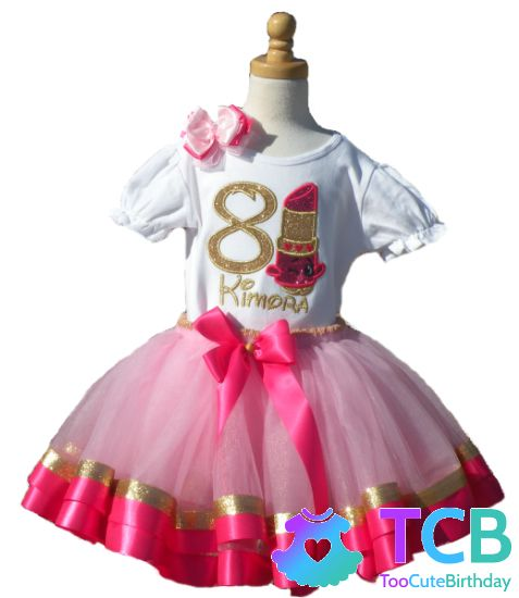 The perfect spring tutu for your little girl's #birthday! Check out this Shopkins Lipstick Girls Pink Gold Birthday Tutu Outfit! #springoutfit #toddlerfashion #tutuoutfit #tutu #birthdayoutfit #springbirthday #firstbirthday #personalizedbirthdayoutfit