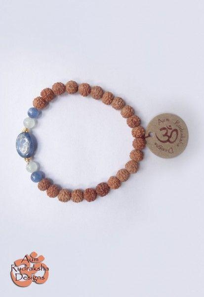 Blue lace Agate, Aquamarine and Gold plated Sterling silver beads #aum #rudraksha #beads #bracelet #jewellery #silver #agate #aquamarine #bali