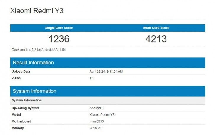 Xiaomi Redmi Y3 Appears On Geekbench Sd625 And 3gb Ram Confirmed