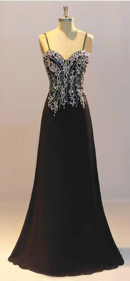 Prom Dresses, Black Prom Dresses,Sheath Prom Dresses, Crystal