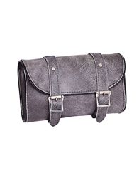 Unik genuine leather distressed tombstone gray leather motorcycle tool bag with quick release buckles. Easy to install with adjustable straps.