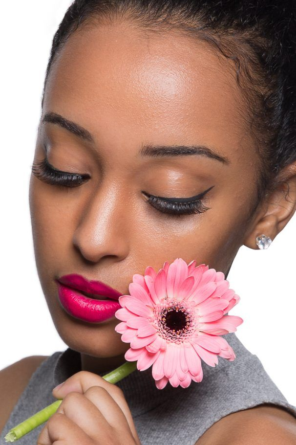 Tribal face paint, with pink lip stick, African Print, African Woman, Fashion, Portrait, Tribal Portrait, Pink Flower.