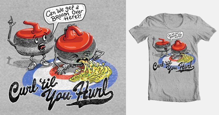 Voting open 'til April 10, 2013! Thought I'd enter the Sports contest and submit a few designs featuring a variety of themes and direction. My first to Threadless is all about humor. Curl 'til you Hurl features two curling stones with one kneeling over in discomfort while puking all over his house. The other is comforting him while urgently calling over for a broom. Ya gotta put those sweepers to good use.