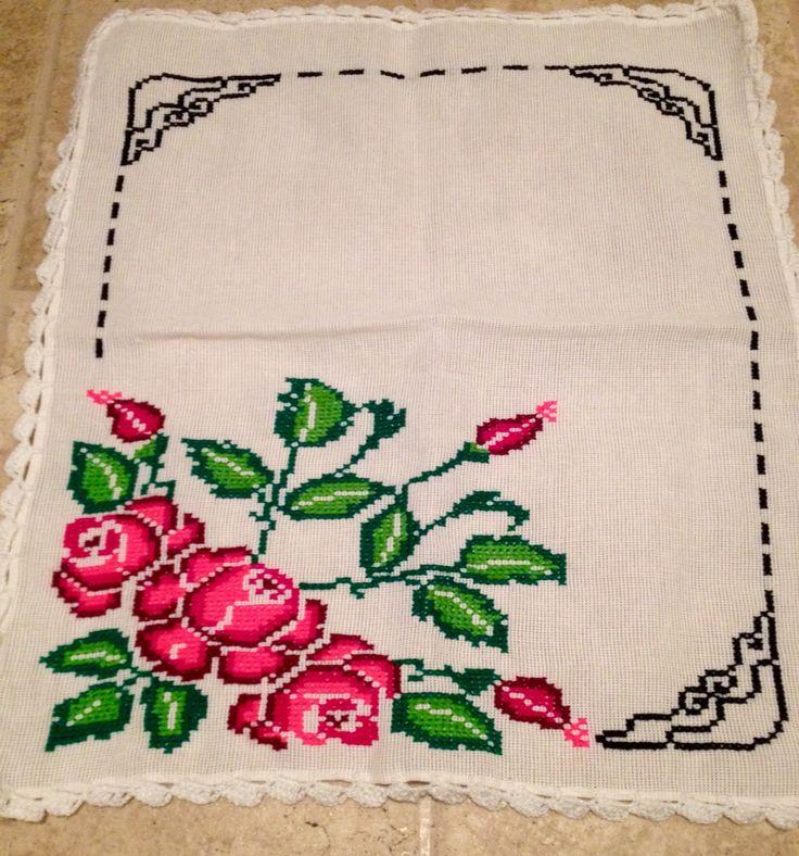 Cross stitch Corner roses My work