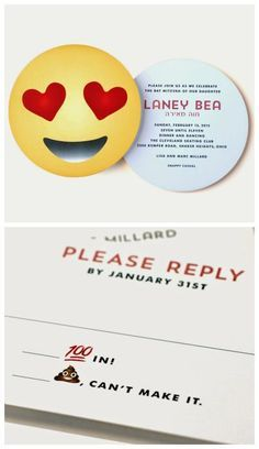 Emoji party invitation idea | Luscious Verdi