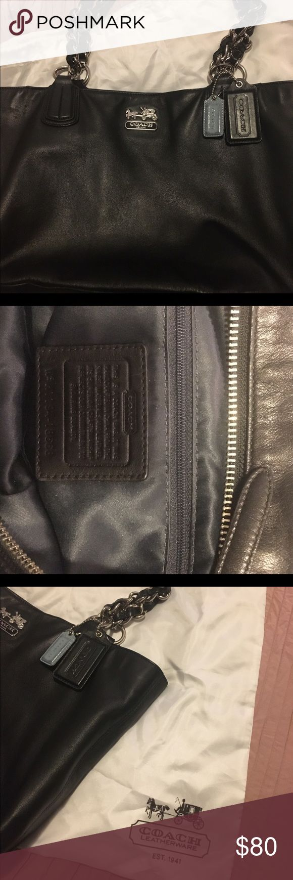 Authentic Coach Purse Authentic Black Coach Purse with chain and leather straps. Used, but still in good clean condition. 🖤 Comes with the Coach bag Bags Shoulder Bags