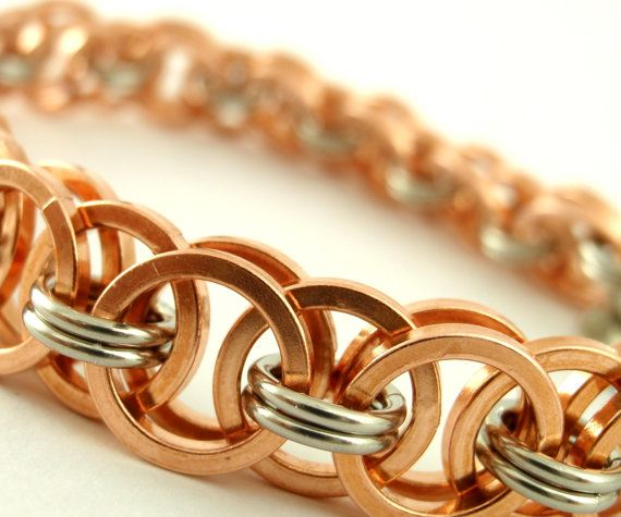 This handmade Solid Square Copper and Stainless Steel Bracelet is as great to wear as it is to look at! Find it On Etsy by unkamengifts!