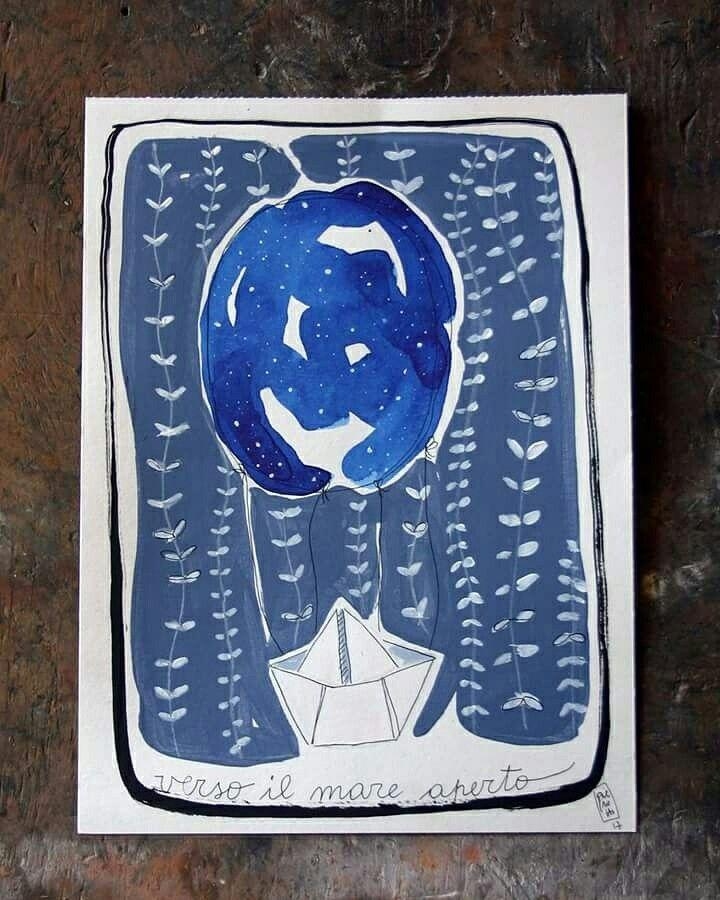 -Verso il mare aperto- Paper Boat Art Prints 2017