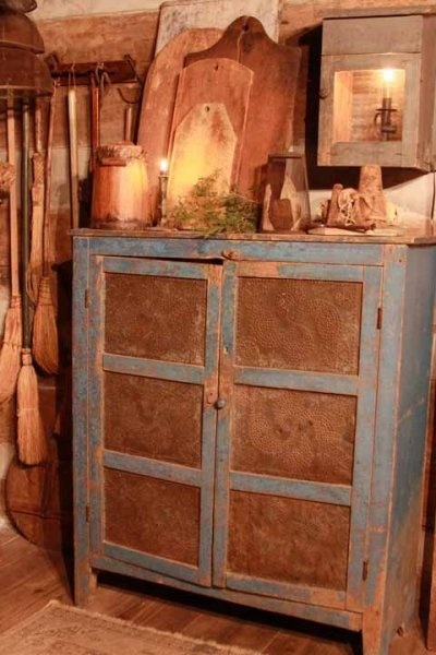 Old Prim Pie Safe...with punched tin doors.