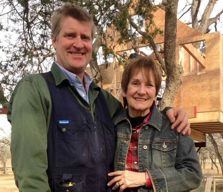 Pete Nelson and Monica Davis during the filming of Treehouse Masters-Sky High Spa  Segment.