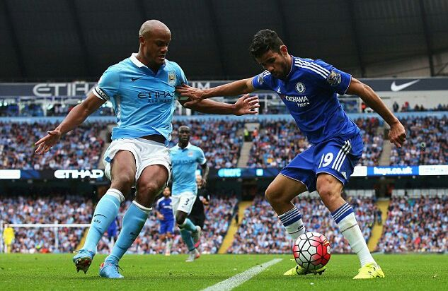 16 August 2015 / Manchester City 3-0 Chelsea: Diego Costa (right) battling for possession with Manchester City captain Vincent Kompany