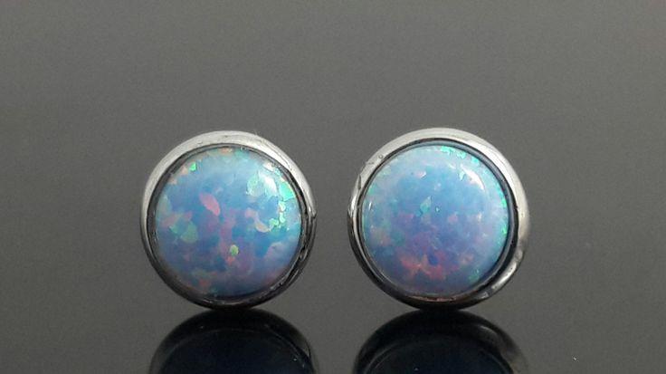 Bezel set .925 sterling silver opal stud earrings by IsaBellaJewellery on Etsy