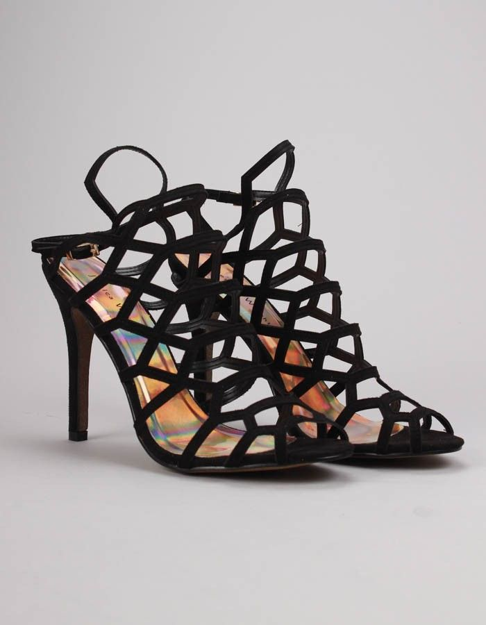 Jessica Wright Black Belinda Strappy Heels | Accent Clothing