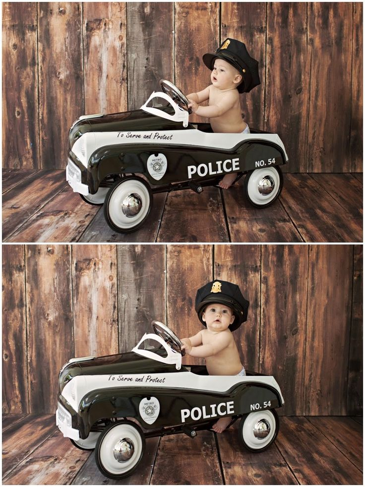Missy B Photography: 6 Month girl session posing | police car | Walnut Creek, CA Child Photographer