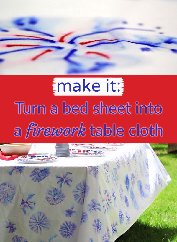 Use a bed sheet and sharpies for this awesome Fourth of July tablecloth!