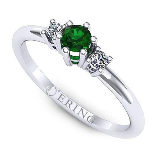 Inel logodna L12ASM cu smarald si doua diamante