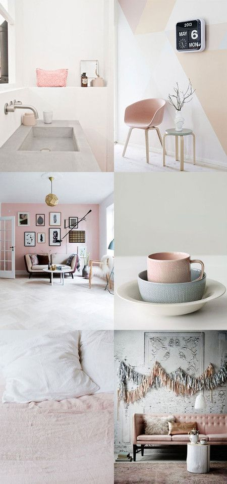 Blush and neutral tones for living room and other home interiors. Love!