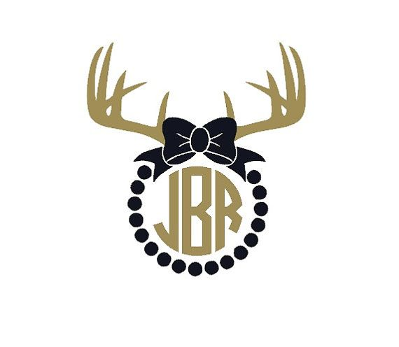 Super cute monogram decal for hunting season! Bow with Dots and Antlers Monogram Car Laptop by LyonAroundDesigns #antlers #bow #monogram #supercute