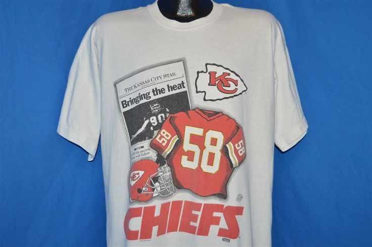 vintage 90s KANSAS CITY CHIEFS #58 NEWSPAPER COVER WHITE COTTON t-shirt XL