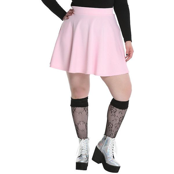 Pink Circle Skirt Plus Size ($28) ❤ liked on Polyvore featuring skirts, pink circle skirt, plus size skirts, sports skirts, sport skirts and pink skirt