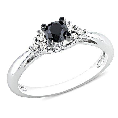 Pierścionek zaręczynowy z diamentem, kolory biały i czarny