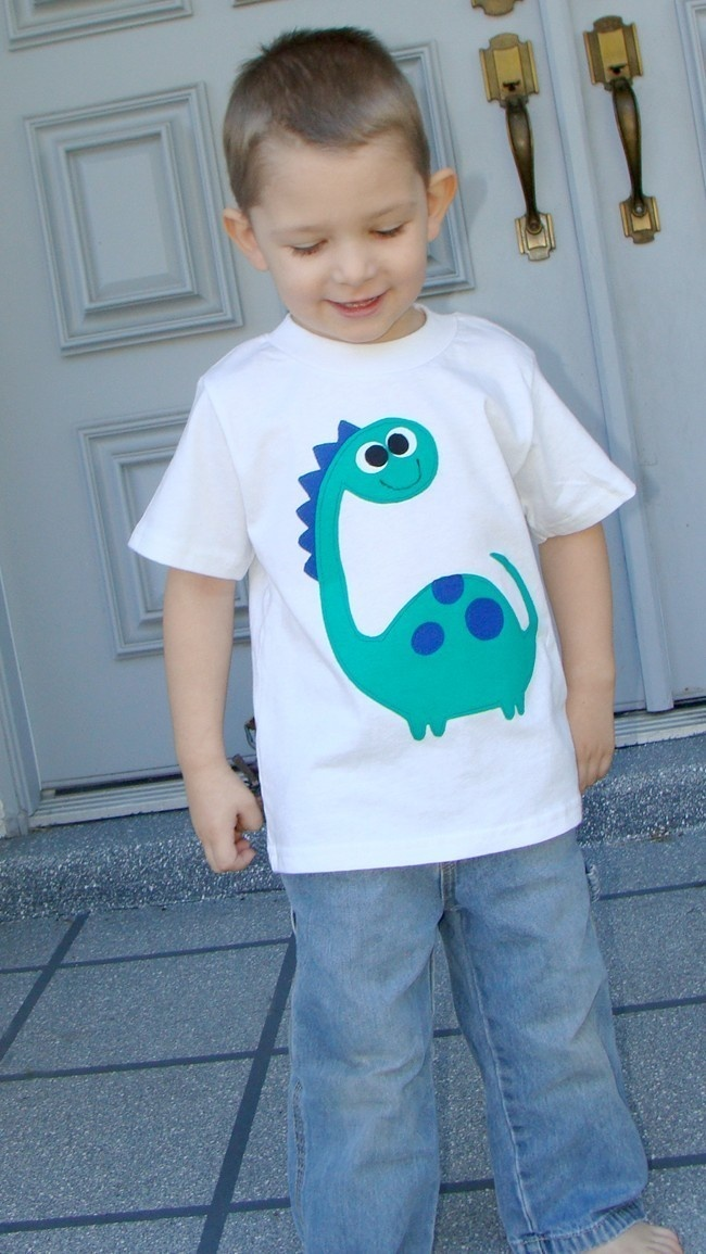 Boys Custom Applique Dinosaur Tshirt. $22.00, via Etsy.