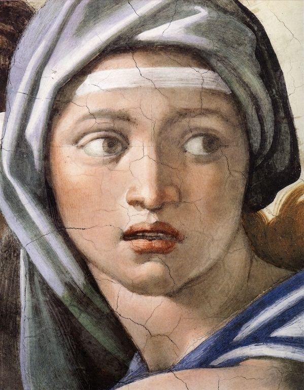 Michelangelo Buonarroti ~ Delphic Sibyl (detail from the Sistine Chapel Ceiling), 1508-12