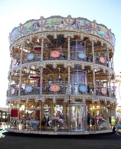 carrusel artesanal giratorio de tres pisos, tíovivo para plazas y parques, calesita de interior y exterior