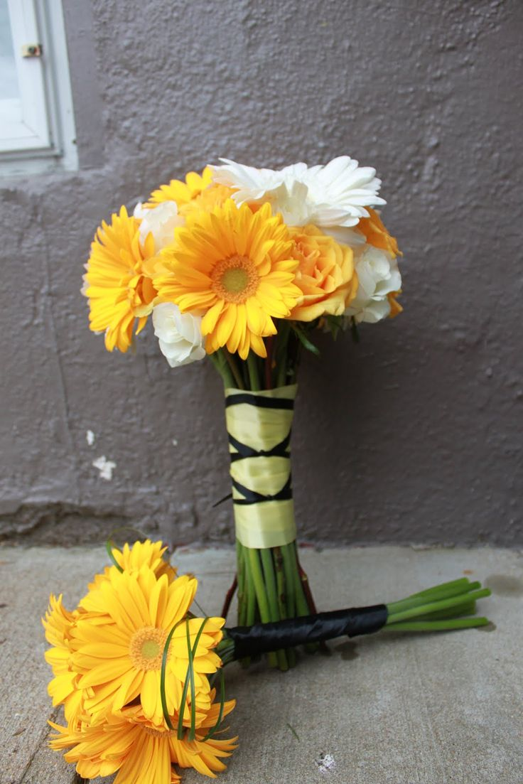 Best 25 gerbera bridesmaid bouquet ideas on pinterest gerbera gerber daisies yellow is such a happy amazing color id like it more if there were some orange mixed in ombrellifo Images