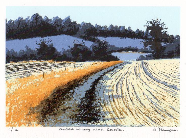 Winter Morning Near Donore by Aidan Flanagan on ArtClick.ie Ireland Landscape Art Screenprints