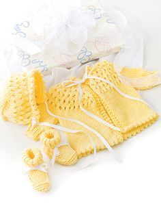 Knit baby set pattern from Just in Time Knits from AnniesCraftStore.com. Order here: https://www.anniescatalog.com/detail.html?prod_id=123345