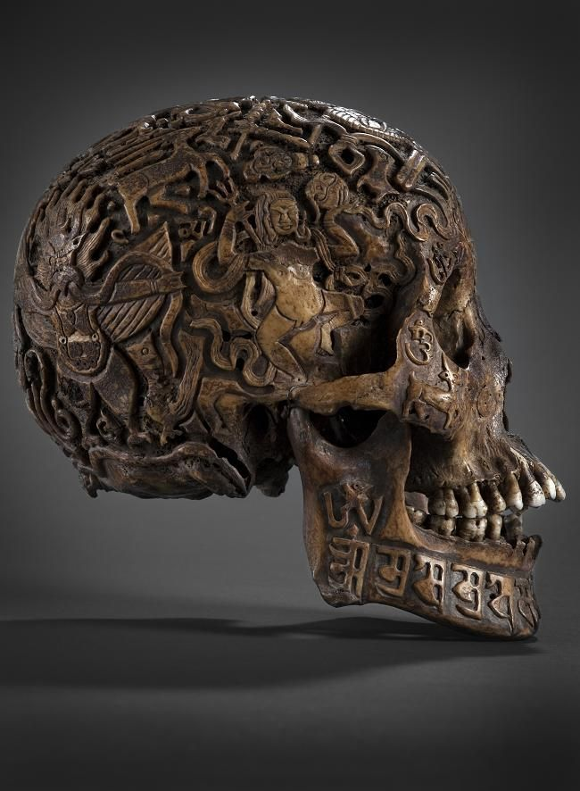 Old Tibetan Skull, allegedly 300 years old. Skulls where carved a long time ago to take a curse off a family or to guide the soul of a mislead human being on the right path.