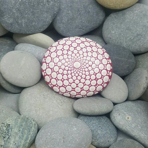Pink Mandala Stone Painted Rock Paint Stone Meditation
