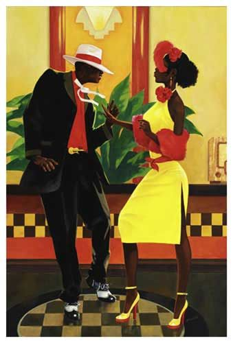 African American Couples Art Yellow Dress Couple