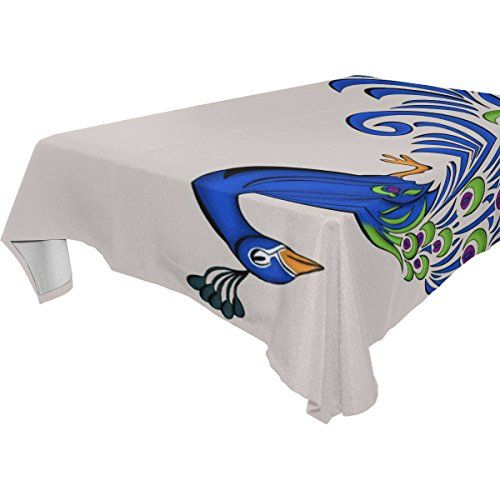 ALAZA Peacock FeatherWashable Rectangular Tablecloth for DinnerKitchenPartyPicnicWeddingRestaurant or Banquet UseFallHolidaysThanksgivingHalloweenChristmasTablecovers Spread54x72 inch ** Want additional info? Click on the image.