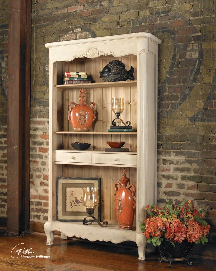 Antiqued Hutch~~really stands out against the old brick wall..would love brick in my kitchen..