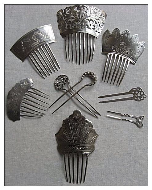 Antique Sterling Hair Combs.