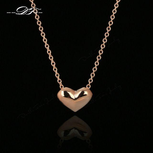 Роуз Позолоченные Простой Элегантный Сердце Любовь Симпатичные Цепи Ожерелья & Подвески Мода Марка Старинные Ювелирные Изделия Для Женщин DFN099