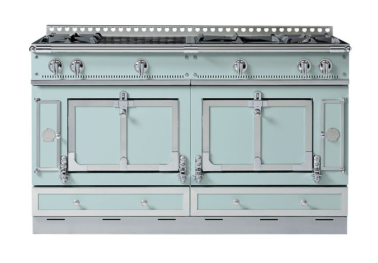 "The Château 150 range by La Cornue is available in ten new colors selected for the company by designer Suzanne Kasler, among them Roquefort (pictured); the 60""-w. appliance starts at $30,000. lacornuecollective.com"