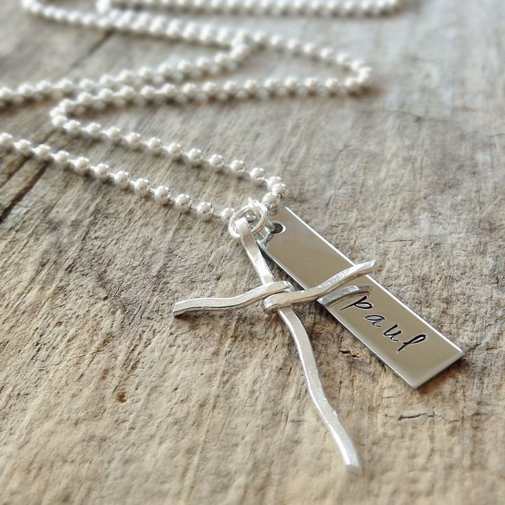 Men's Sterling Silver Necklace, Rustic Cross Necklace, Name Necklace, For Dad, Personalized Gift For Him, Bohemian Jewelry, Father's Day by TesoroDelSol on Etsy https://www.etsy.com/ca/listing/245702777/mens-sterling-silver-necklace-rustic