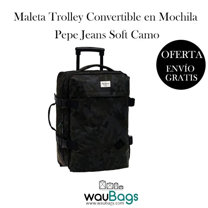Maleta Trolley Pepe Jeans Soft Camo convertible en mochila, ahora por tan solo 79,99€!!¡La podrás usar como una maleta y llevarla cómodamente gracias a su trolley extensible o bien la puedes llevar a la espalda como una mochila! @waubags #pepejeans #pepe #maleta #trolley #mochila #convertible #viaje #viajeros #oferta #descuento #waubags