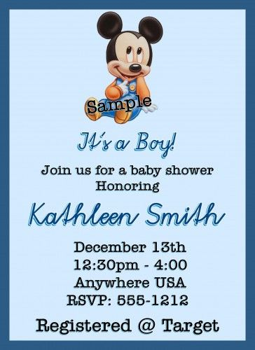 Baby Mickey Mouse Baby Shower Invitations