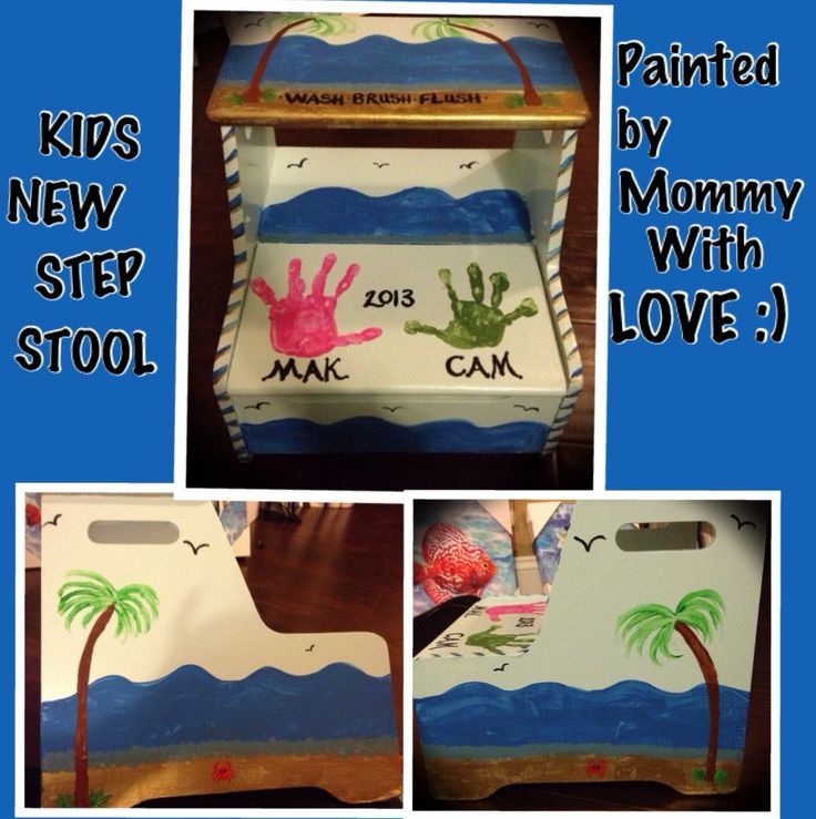 DIY Beach Theme Step Stool with Kids Handprints! -Kids had a plain boring white step stool that needed a little help. Instead of throwing it away decided to paint it and bring it back to life! Kids bathroom is beach/tropical theme so I painted it blue, added some birds, palm trees, waves and crabs! I added the words: Wash, Brush & Floss to the top step as a reminder :) I used Acrylic Paint and Triple Thick Gloss Glaze to seal it once I was done.