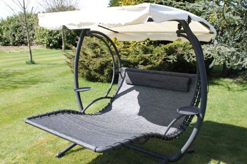 Olive Grove Textoline & Steel 2 Person Bed Style Garden Hammock Swing Seat in Grey Colour.(SWING200)