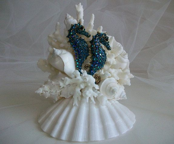 69 best beach themed cake toppers images on pinterest beach beach theme wedding cake topper jeweled seahorses seashell cake topper seahorse shell wedding decor junglespirit Choice Image