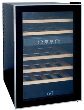 Sunpentown WC2463W 18 Inch Wine Cooler with 24 Bottle Capacity, Thermoelectric Cooling System, Dual Temperature Zones, 5 Wooden Shelves, Quiet Operation and No Vibration $260.00