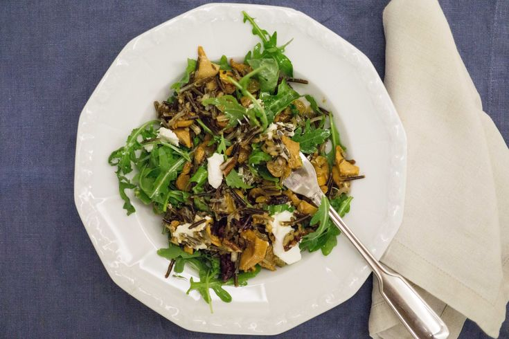 Wild Rice Salad with Chanterelles, Arugula, Dried Fruit & Pecan Nuts