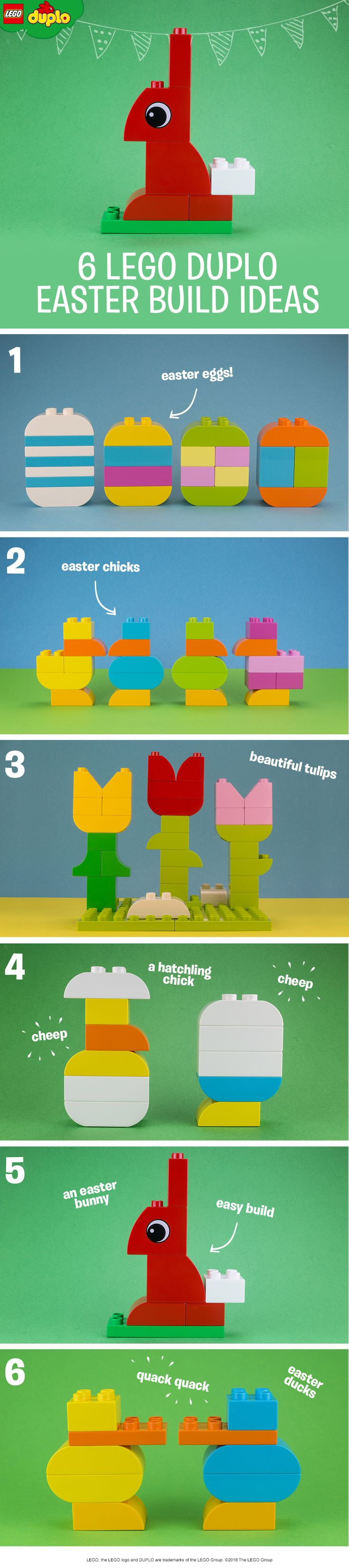 Get ready for Easter! Here are some kid-friendly DIY decoration ideas – all made from colorful LEGO DUPLO bricks. Build a bunny, some chicks, a bunch of tulips, a set of colorful Easter eggs or even some little ducks!  Have fun with your kids by building these truly unique decorations for your home. If you need some more colorful