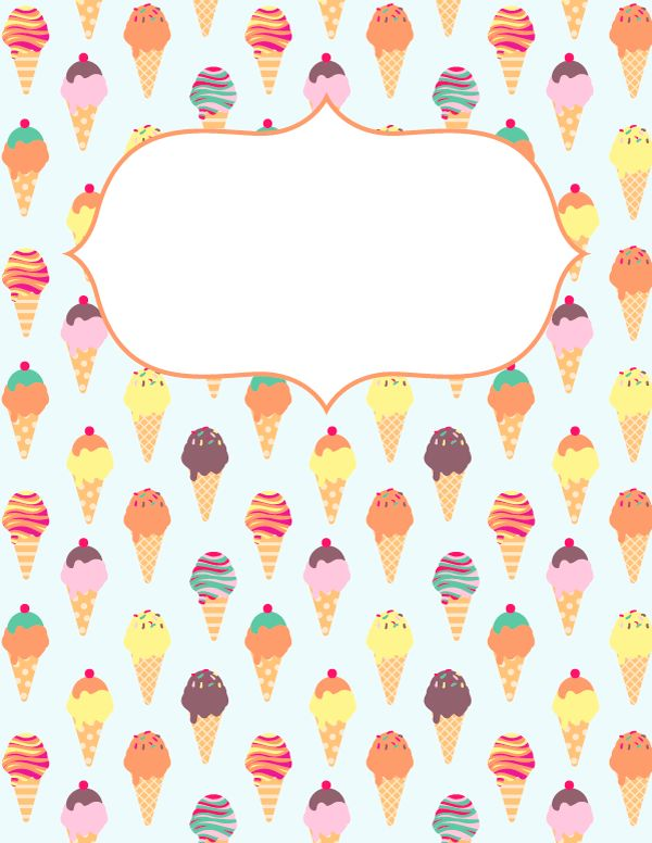 Free printable ice cream binder cover template. Download the cover in JPG or PDF format at http://bindercovers.net/download/ice-cream-binder-cover/