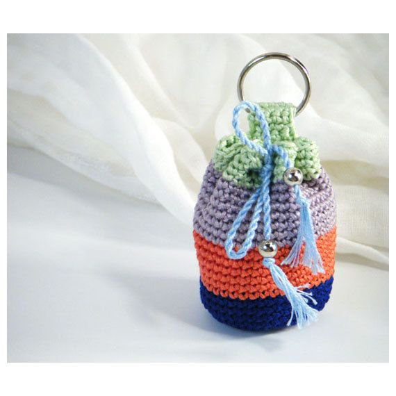 Mini Crocheted Key Chain Pouch - Small Cotton Purse, Bag - Greens and Blue